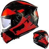 ZHXH Full Face Motorradhelm, Adult Retro Fiberglas Männer und Frauen, die Offroad Motorrad Motorradhelm mit Anti-Fog Patch und Kopfhörer Slot Dot/Ece Approved...