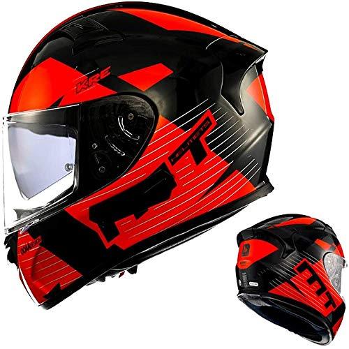 ZHXH Full Face Motorradhelm, Adult Retro Fiberglas Männer und Frauen, die Offroad Motorrad Motorradhelm mit Anti-Fog Patch und Kopfhörer Slot Dot/Ece Approved fahren,