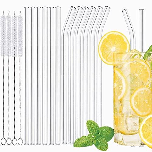 Strohhalme Glas,Wiederverwendbar Glas Strohhalme,GlasStrohhalme,(6 gerade und 6 gebogene) mit 4 Glas Trinkhalme Reinigungsbürsten, umweltfreundlich und Geeignet für Bubble Tea und Cocktail