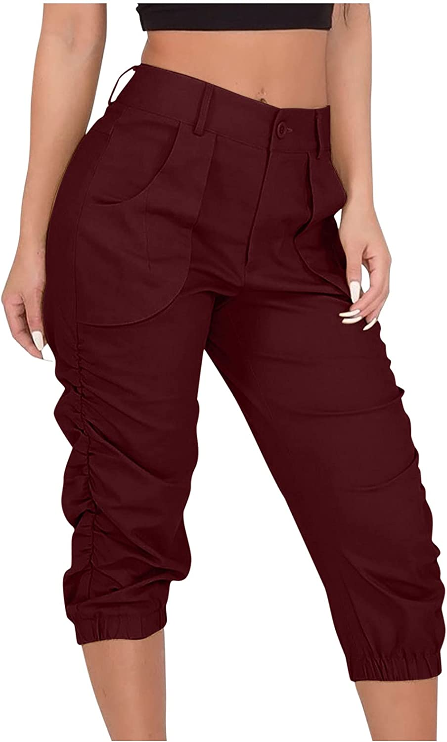 HONGJ Mid-Calf Cargo Pants for Womens, Summer Casual Slim Fit Cropped Beam Capris Trousers Hiking Joggers Sweatpants