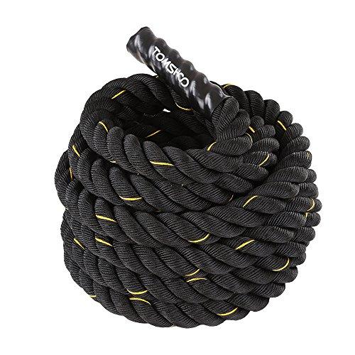 TOMSHOO Fune di Allenamento, Battle Rope, Allenamento Corda di Ondulazione, Esercizio Fitness Rope 10m / 12m / 15m (38mm/50mm) per lallenamento Muscolare (10 m X 38 mm)