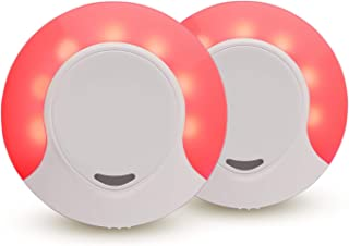 Sleep Aid Red LED Night Light Plug in with Dusk to Dawn Auto Sensor, Low Blue LED Promotes melatonin Production and Healthy Sleep, ON-Off-Auto Toggle, 2-Pack
