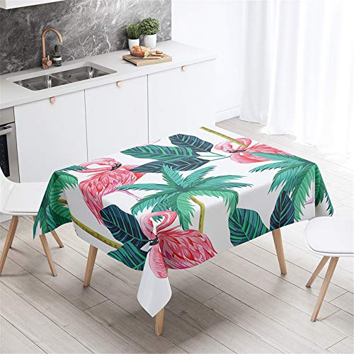 Sticker Superb. Animal Pink Flamingo Garden Flower Square Tablecloth Wipe Clean Polyester Table Cover, Oil-Proof Mildew-Proof Table Cloth for Kitchen Dinning Tabletop (White 2, 140 x 160cm)