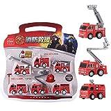 6pcs / Set Creative City Fire Truck The Rescue Vehicle Sets Bloques de Escalera de construcción Bloques de construcción compatibles Modelo GC025088 (Rojo) -BCVBFGCXVB