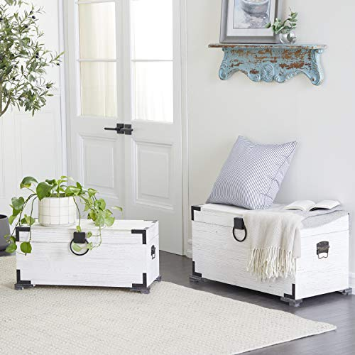 Deco 79 28'/31' Wood Trunk (Set of 2), White/Black