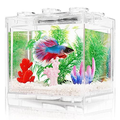 Small Betta Fish Tank, Aquarium Tank Kit with LED Lighting, 3/5 Gallon Beta Fish Tank Set, Fish Bowl Accessories for Reptile Jellyfish Goldfish Shrimp Moss Crab Insects Habitat