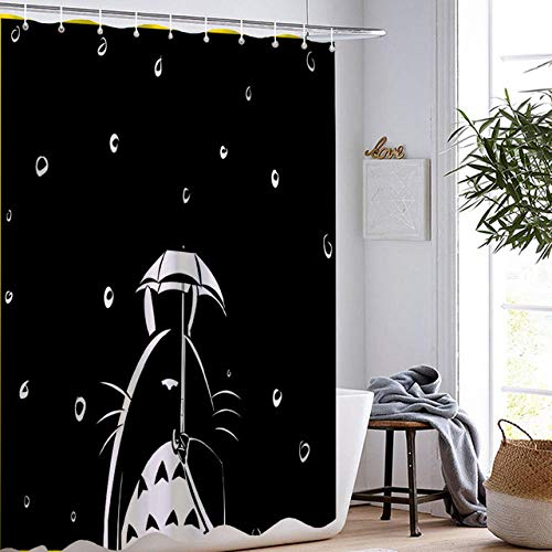 DAMCOK Duschvorhänge Totoro Film Anime Badezimmer Dekor Wasserdichter Polyester Stoff Waschbare Badezimmer Gardinen-B90cmxH180cm