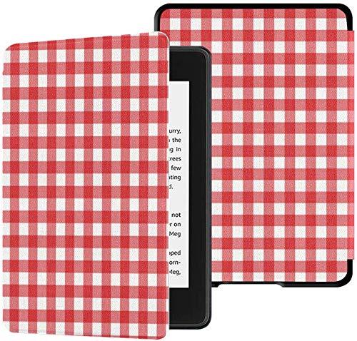 Gloednieuwe Kindle Paperwhite Waterveilige stoffen hoes (10e generatie, uitgave 2018), rood Klassiek geruit tafelkleed Textuur Backgro Vector tablethoes