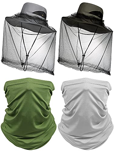 6 Pieces Mosquito Head Net Hats Include 2 Wide Brim Boonie Hats UV Protection Sun Fishing Hats Safari Cap Beach and Hiking Cap 2 Mosquito Head Net and 2 Neck Gaiters for Men and Women