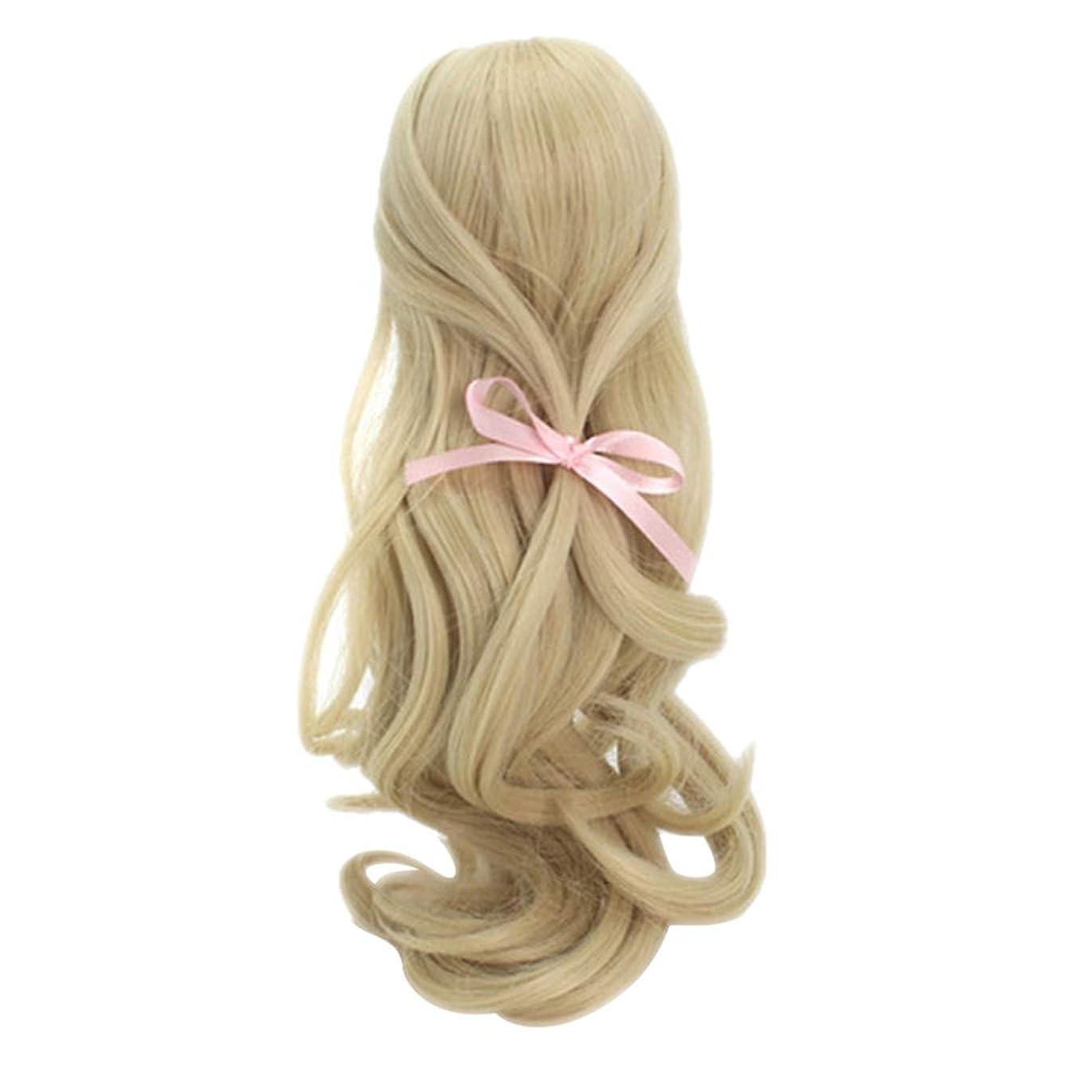 メイン主張する吸収剤Healifty 人形のかつらAir Loli高温シルクウィッグ装飾人形のための長い巻き毛(白)