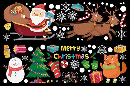 Weihnachtsdeko Fenster, Weihnachten Fensterbilder Fenstersticker Fensteraufkleber Kinder, Fensterdeko Selbstklebend Bunte, für Türen Schaufenster Vitrinen Glasfronten und mehr
