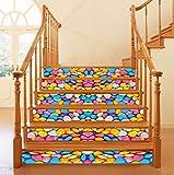 ZTMN Piedras de Colores Pegatinas de Escalera 3D Papel Tapiz Impermeable Decoración del hogar Baño extraíble Cocina Etiqueta de Piso de la Pared 6 unids/Set