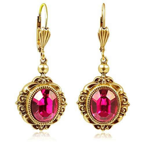 Vintage Ohrringe mit Kristallen von Swarovski® Gold Pink NOBEL SCHMUCK