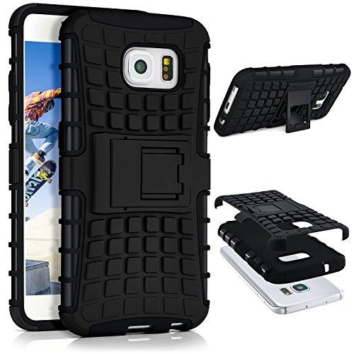 ONEFLOW® Tank Case kompatibel mit Samsung Galaxy S6 Outdoor Hülle | Panzer Handyhülle mit Ständer - 360 Grad Handy Schutz aus Silikon & Kunststoff, Schwarz