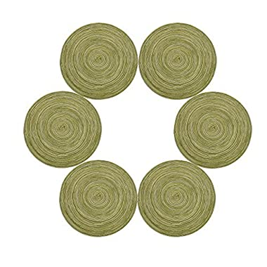 Placemats,Topotdor 14-Inch Round Placemat Braided Woven PlacematsSet of 6 (Green)