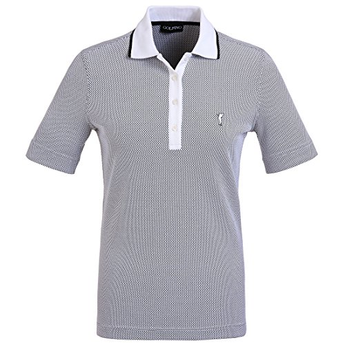 GOLFINO Damen Funktions-Golfpoloshirt in Regular Fit aus hochwertigem Bubble Jacquard Blau XS