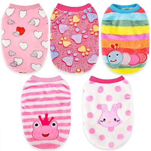 5 Pieces Small Dog Winter Clothes for Girls Sebaoyu Fleece Warm Pet Puppy Sweater Dog Outfit Vest Cute Female Vest Coat for Chihuahua French Bulldog Jacket (XX-Small)