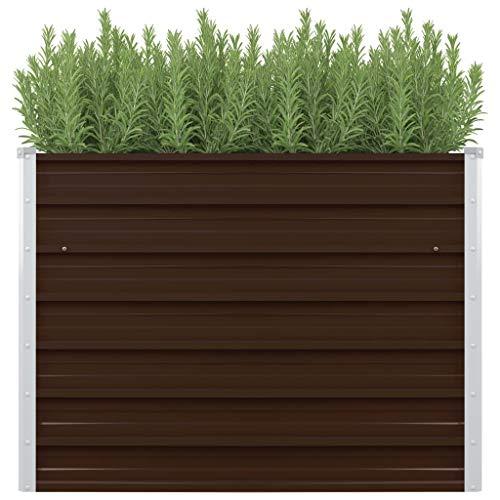 mewmewcat Mesa de Cultivo de Acero galvanizado marrón 100x100x77 cm