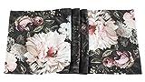 khevga Camino de mesa con estampado de flores, color negro oscuro, estilo rústico, 40 x 140 cm