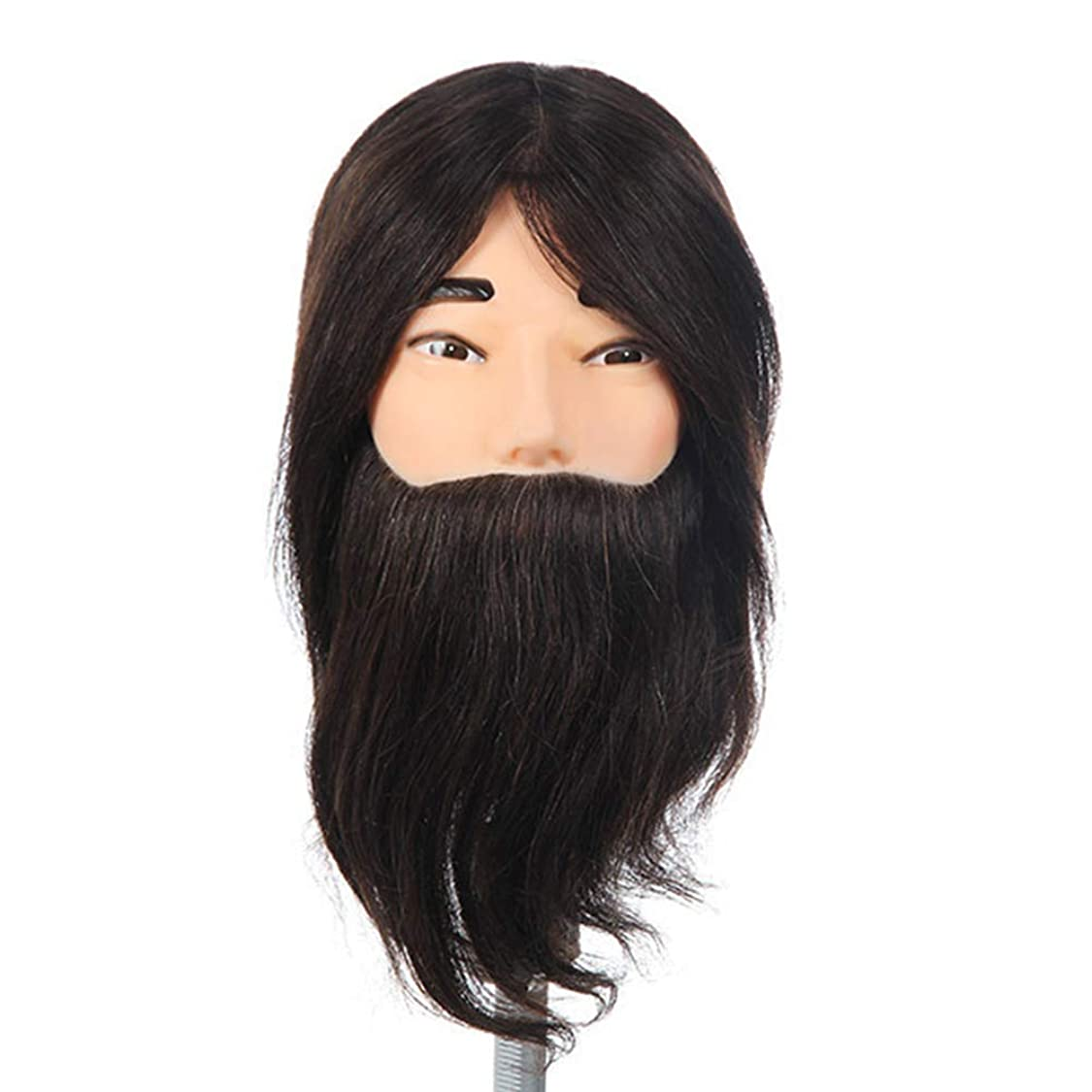 意味するシェード案件リアルヘア練習ヘッドモデルヘアサロントリミングパーマ染毛剤学習ダミーヘッドひげを生やした男性化粧マネキンヘッド