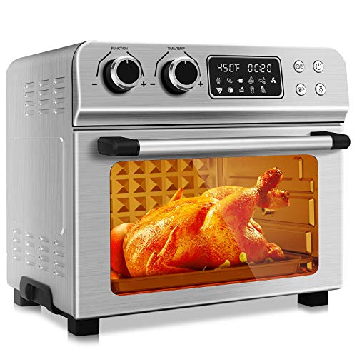 KBS 1700W Stainless Steel 10-in-1 Air Fryer Oven with Dehydrator/Rotisserie/Bake/Roast/Grill/Broil Function, 24QT Large Digital Countertop Toaster Oven, Max 450℉ & 60 Min Timer, 7 Accessories (Renewed)