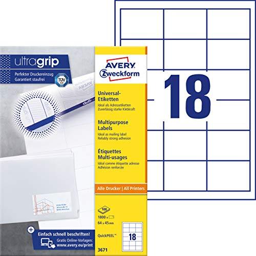 AVERY Zweckform 3671 Adressaufkleber (mit ultragrip, 64 x 45 mm auf DIN A4, Papier matt, bedruckbare, selbstklebende Adressetiketten, 1.800 Klebeetiketten auf 100 Blatt) weiß