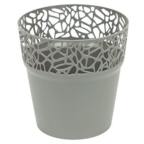 Rond cache-pot 17.5 cm NATURO plastique romantique style en gris