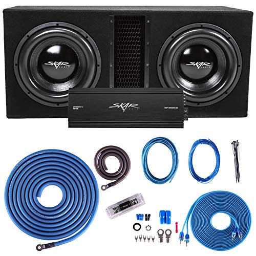"Skar Audio Dual 12"" Complete 5, 000 Watt Subwoofer Bass Package - Includes Subwoofers in Ported Box with Amplifier"
