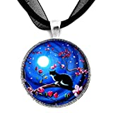 Laura Milnor Iverson Tuxedo Cat Handmade Art Pendant Japanese Magnolia Tree Blue Moon (Black Ribbon Necklace)