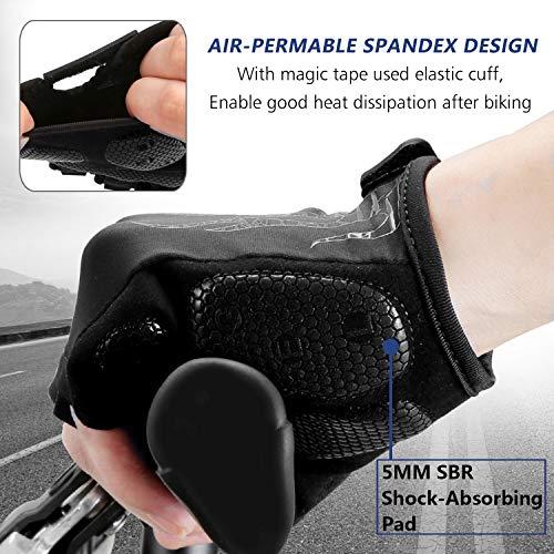 MOREOK Mens Cycling Gloves,Half Finger Biking Glove MTB DH Road Bicycle Gloves Gel Pad Shock-Absorbing Anti-Slip Breathable Motorcycle    Mountain Bike Gloves Unisex Women AK050-Black-XL