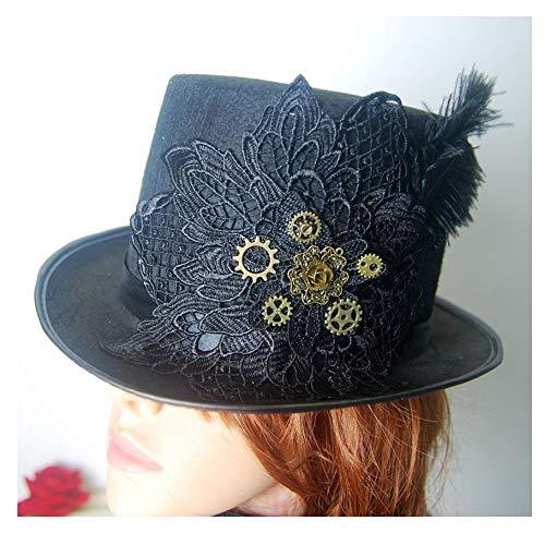 RedAlphabet Steampunk Top Hat Noir Vintage Gear Handmade Fait à la Main de Chapeau Cosplay Hat Top Hat Taille 57CM (Color : Black, Size : 57cm)