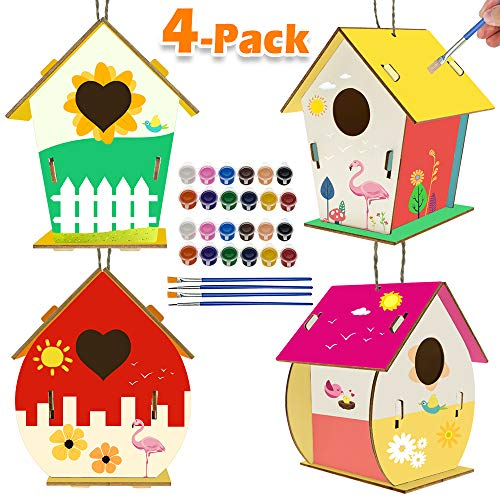 Kids Activities Art and Crafts for Kids 4-Pack DIY Bird House Kit for Children to Build and Paint Creative Art Projects Party Favors for 3+ Year Old Boys and Girls