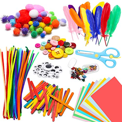 WATINC 800Pcs DIY Art Craft Kits Kleinkinder Moderne Kids IQ Designspielzeug Crafting Gehören Pipe Cleaners, Wiggle Googly Eyes, Glitter Pom Poms, Federn, Knöpfe, Pailletten Party Supplies für Kinder