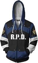 COSTHEME Leon Kennedy Hoodie Sweatshirt X-Costume 3D Printed Zipper Pullover Jacket Halloween Costume Unisex