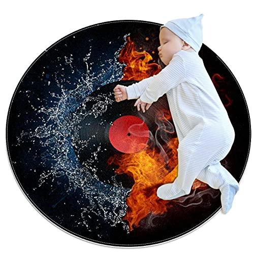 Alfombra suave redonda 100x100cm/39.4x39.4IN Alfombrillas circulares antideslizantes para el suelo Alfombrilla para pie de esponja absorbente,Fuego de agua récord de goma