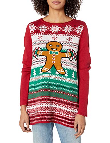 Ugly Christmas Sweater Company Women's Assorted Pullover Xmas Sweaters with Multi-Colored LED Flashing Lights, Cayenne Light-Up Gingerbread Man, XXL