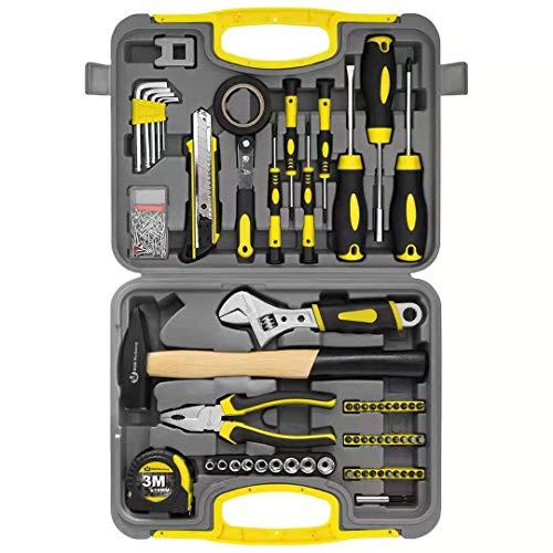WZG Werkzeugset im Koffer, Werkzeugkoffer, Werkzeug-Set Ideal Weihnachtsgeschenk für den Haushalt, Werkzeugkasten für den Haushaltsbereich Universal-Haushalts-Werkzeugkoffer (60 teilig)