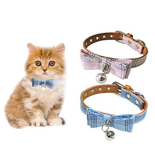 Andiker Collar de Cuero de Perro con Pajarita, Collar Pajarita de Perro Ajustable Suave y Cómoda para Perrita, Collar de Cuero de PU con Cascabel para Gatos, Perrita (Rosa,Azul)