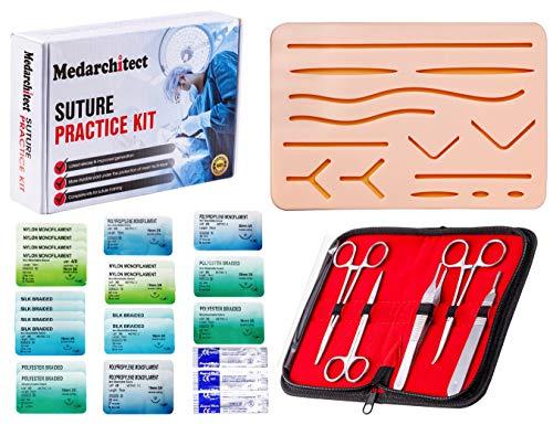 Kit di sutura (30 pezzi) per sutura medica studente sutura, include pad di sutura con 14 ferite pre-tagliate, strumenti di sutura (solo per uso educativo)