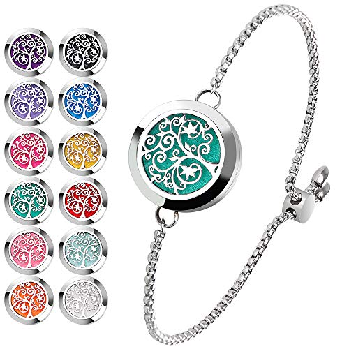 Stainless Steel Adjustable Essential Oil Diffuser Bracelet (Silver)