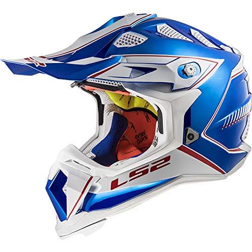 LS2 MX470 Fullface Motocross Helm Motorrad Crosshelm Motorradhelm Damen und Herren Integralhelm ECE Genehmigt Chrome Blue L (59-60cm)