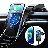[2 in 1] 15W Magnetic Wireless Car Charger Mount Compatible with MagSafe Car Charger for iPhone 13 12 Pro Max Mini Car Phone Holder Mount Fast Charging Dashboard Air Vent Cell Phone Magnet Car Mount