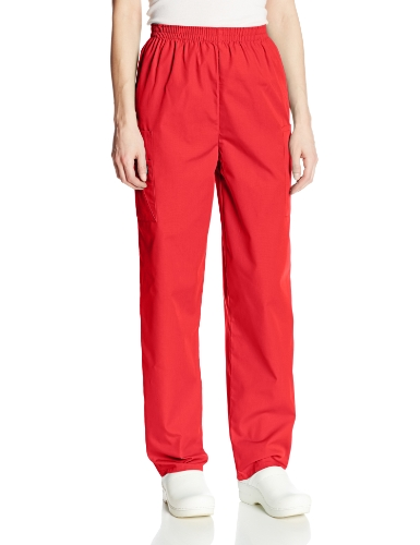 Cherokee Women's Workwear Elastic Waist Cargo Scrubs Pant, Red, Medium