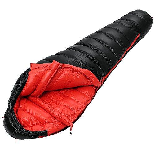 QFFL shuidai Sac de Couchage Momie/Sac de Couchage en Duvet/étanche léger/Adulte Sac de Couchage d'hiver en Plein air Sac de Compression Noir (210 * 80cm)