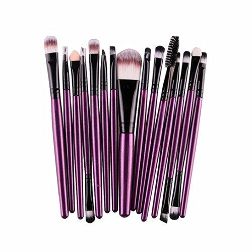 Pinceaux Maquillage, Koly 15 Pcs Maquillage Outils Brush Set Maquillage Trousse De Toilette Laine Brosse à lèvres Makeup brushes set Le fard à paupières (Violet)