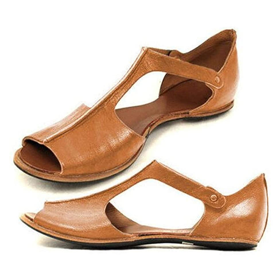 Women Flat Sandals,Casual Retro Peep Toe Roman Sandal,Ankle Greece Shoes