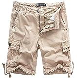 WenVen Men's Active Cargo Shorts Cotton Outdoor Wear Lightweight, Light Khaki,36