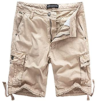 WenVen Men s Summer Cotton Twill Cargo Shorts Light Khaki 38
