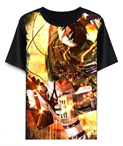 WANHONGYUE Anime Ataque a los Titanes Attack on Titan T-Shirt Cosplay Disfraz Verano Manga Corta tee Top Camisetas Negro 22 XXS