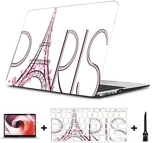 MacBook Pro Case 15 Pink Eiffel Tower with Paris Lettering Plastic Hard Shell Compatible Mac product image
